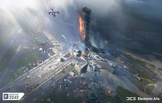 《战地2042》官推分享新概念图 火箭发射场遍地残骸