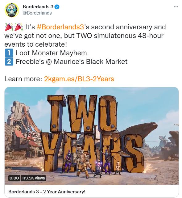 《无主之地3》官推庆祝发售两周年 纪念活动事件上线插图1