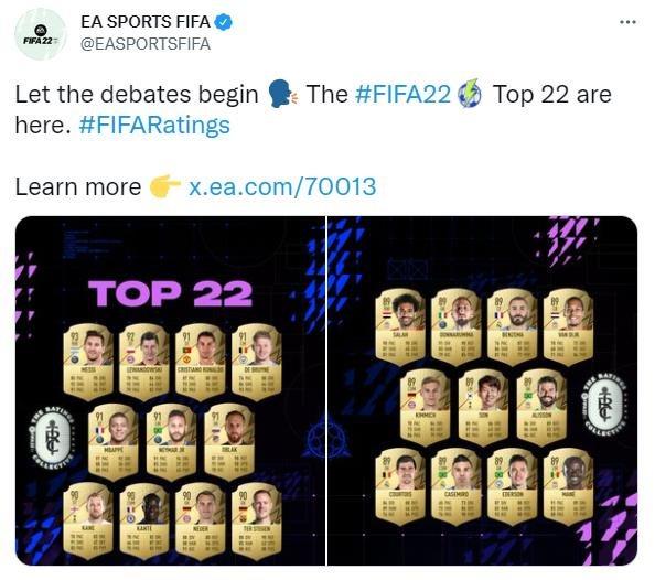 EA公布《FIFA 22》球员排名Top22 梅西仍然位居首位插图1
